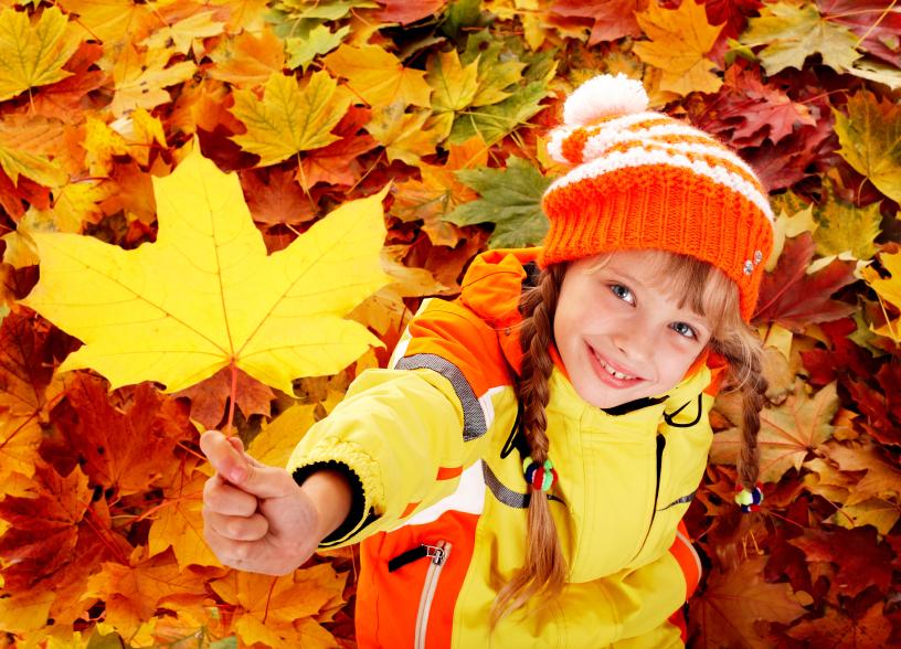 Child in autumn orange leaves.